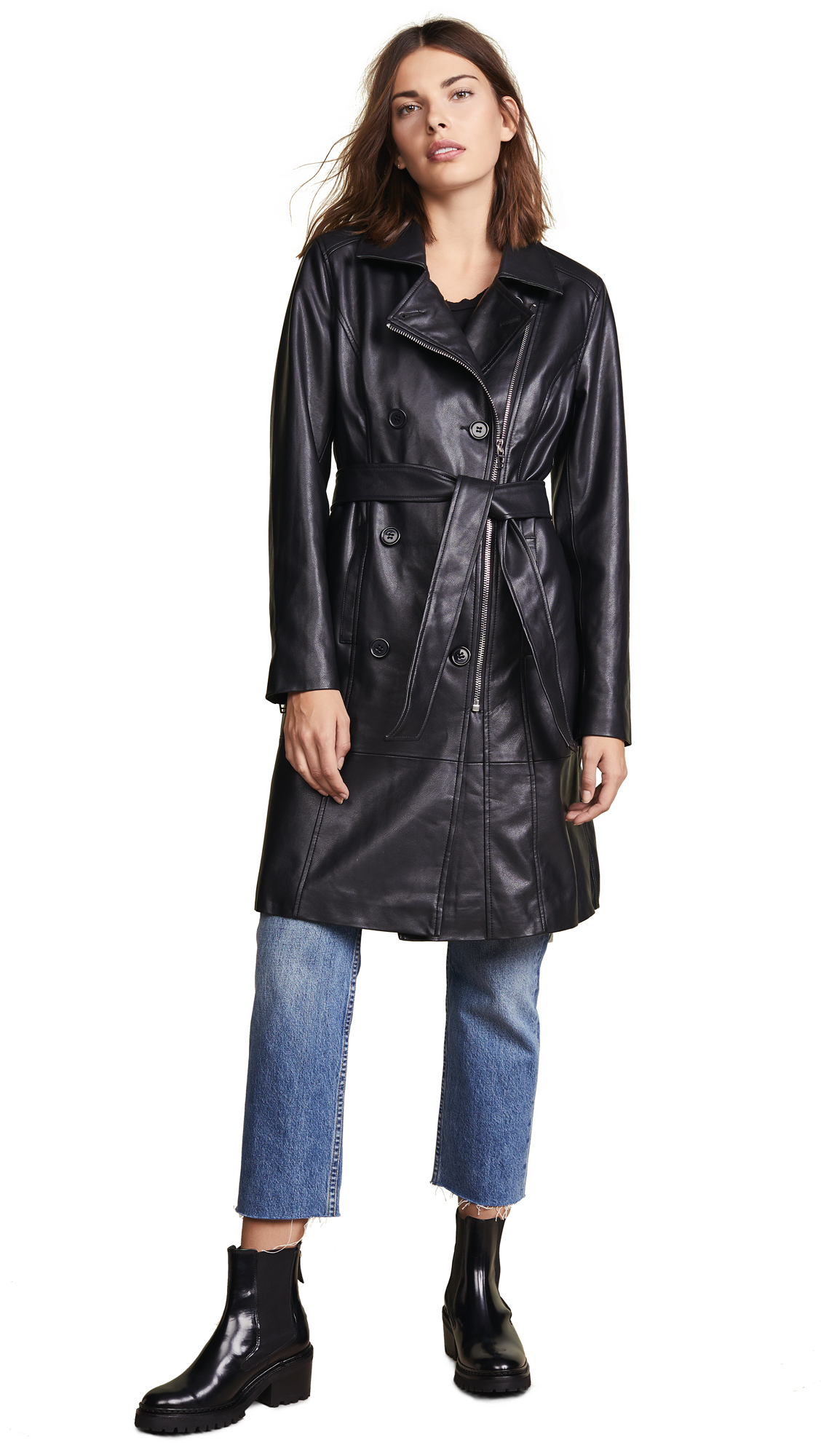 Blank Denim Vegan Leather Trench Coat
