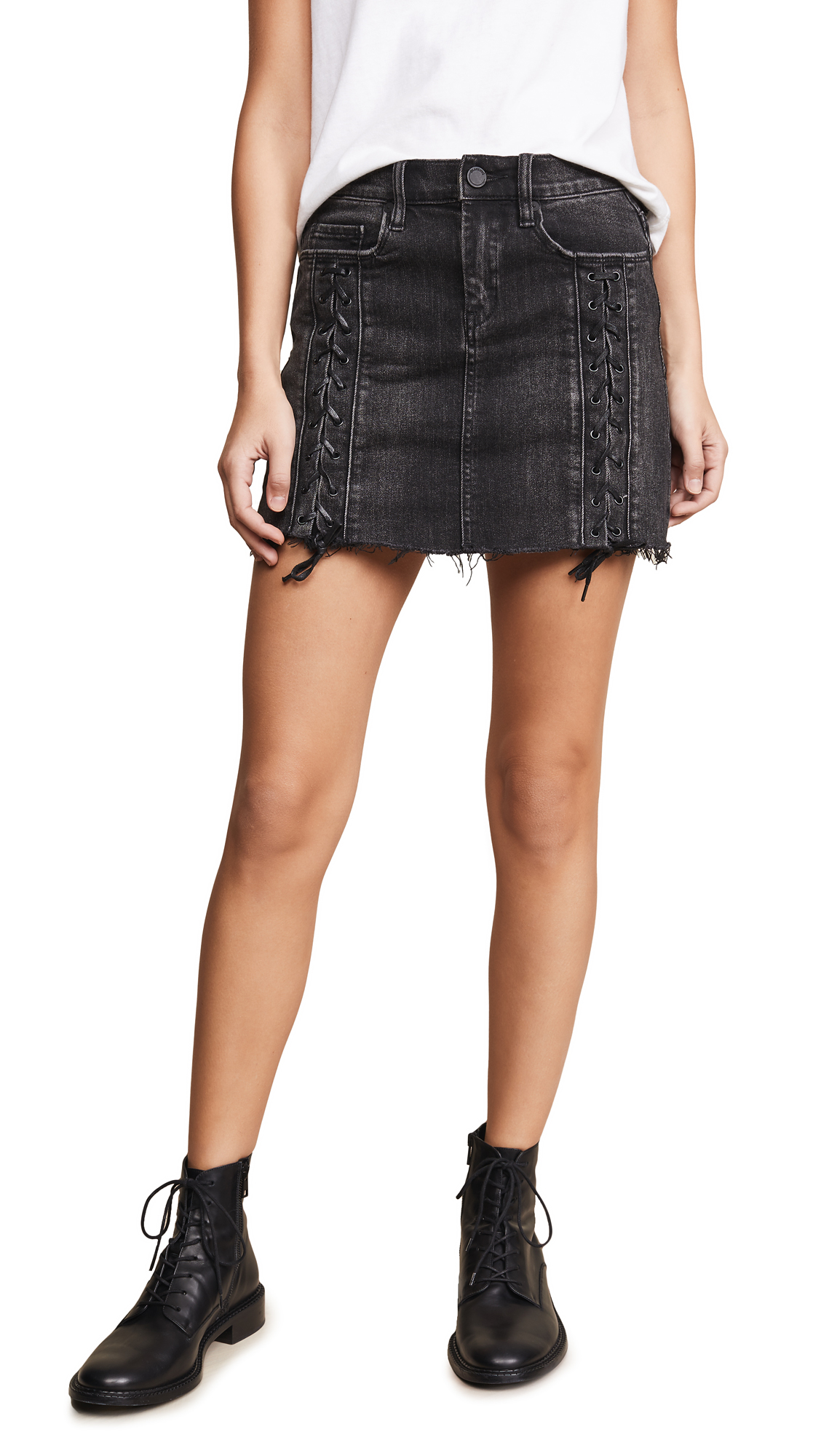BLANK DENIM Lace Up Denim Skirt in Mystique