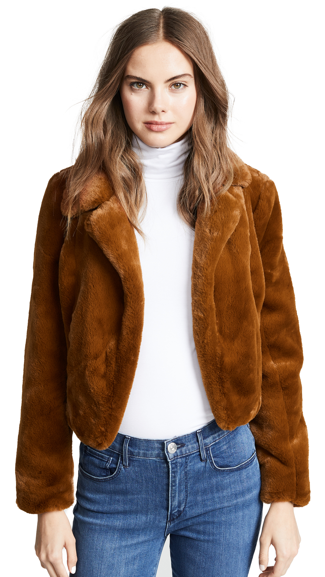 BLANK DENIM Cropped Faux Fur Jacket in Milk Chocolate