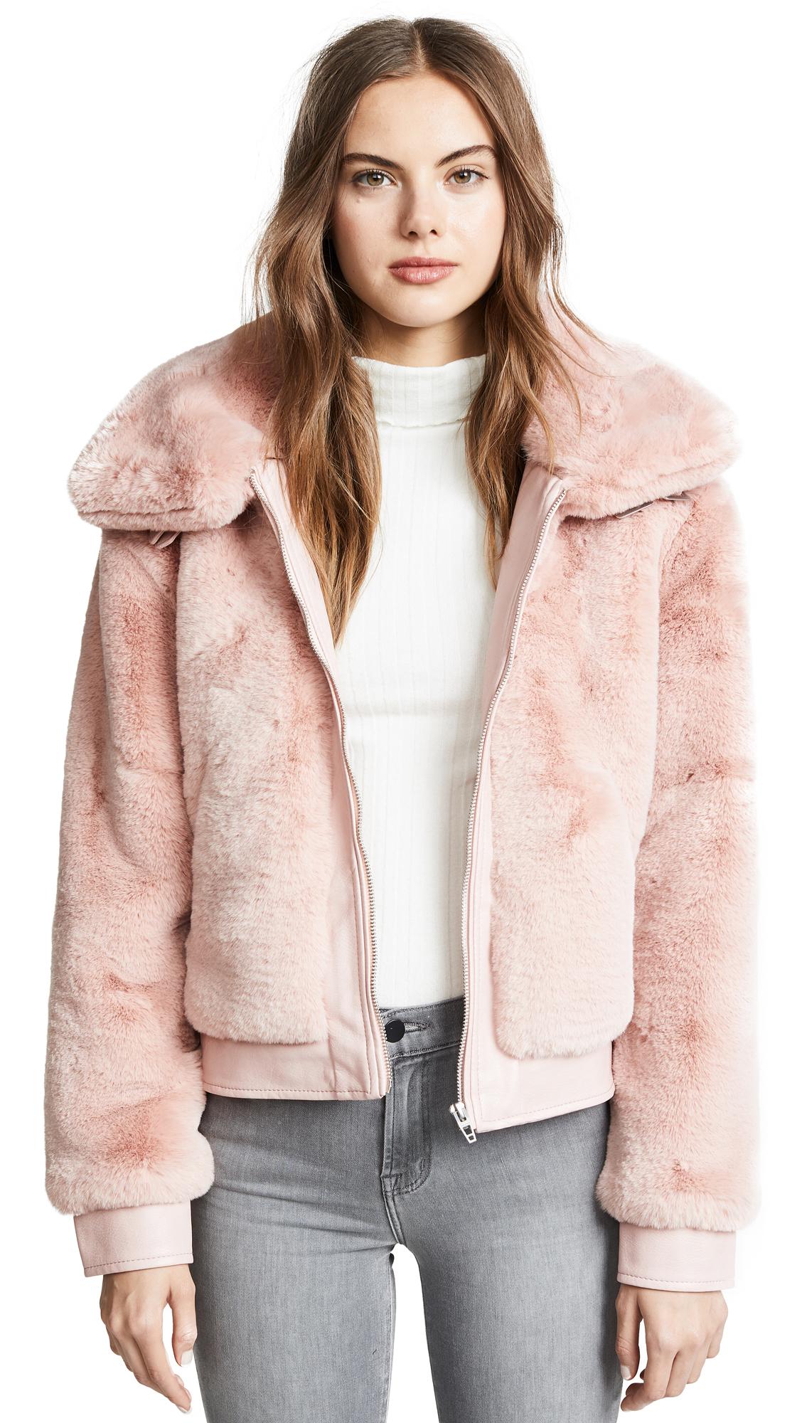 Blank Denim Faux Fur and Vegan Leather Bomber Jacket In Internet Hobo