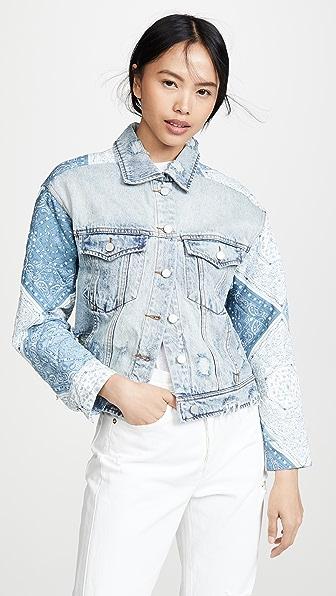 Blank Denim Patchwork Jacket In Wild Meadow