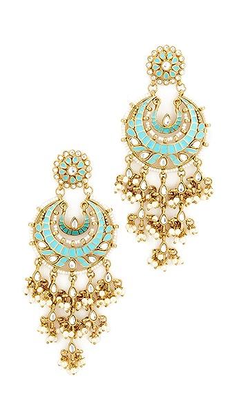 Blossom Box Ornate Chandelier Earring - Gold/Turquoise