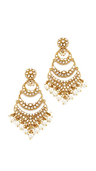 Blossom Box Imitation Pearl Dangle Chandelier Earrings In Gold/Pearl