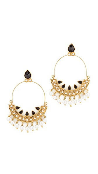 Blossom Box Chandelier Hoop Earrings - Gold