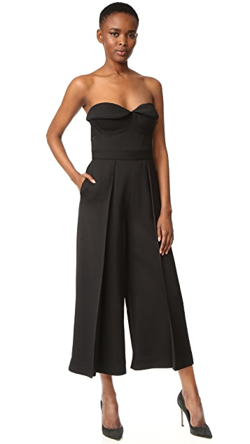 Brandon Maxwell Bustier Pleated Jumpsuit