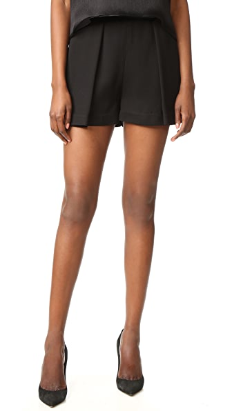 Brandon Maxwell Pleated Shorts In Black
