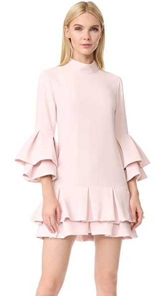 Brandon Maxwell Ruffle Hem Mini Dress