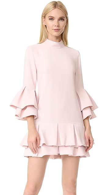 Brandon Maxwell Ruffle Hem Mini Dress