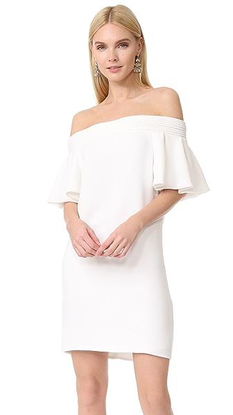 Brandon Maxwell Ruffle Sleeve Mini Dress