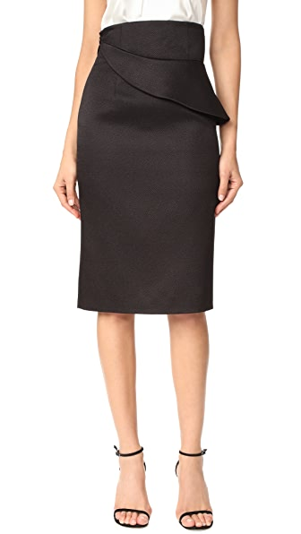 Brandon Maxwell Folded Waist Pencil Skirt - Black