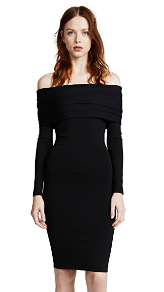 Brandon Maxwell Off Shoulder Layered Dress In Black