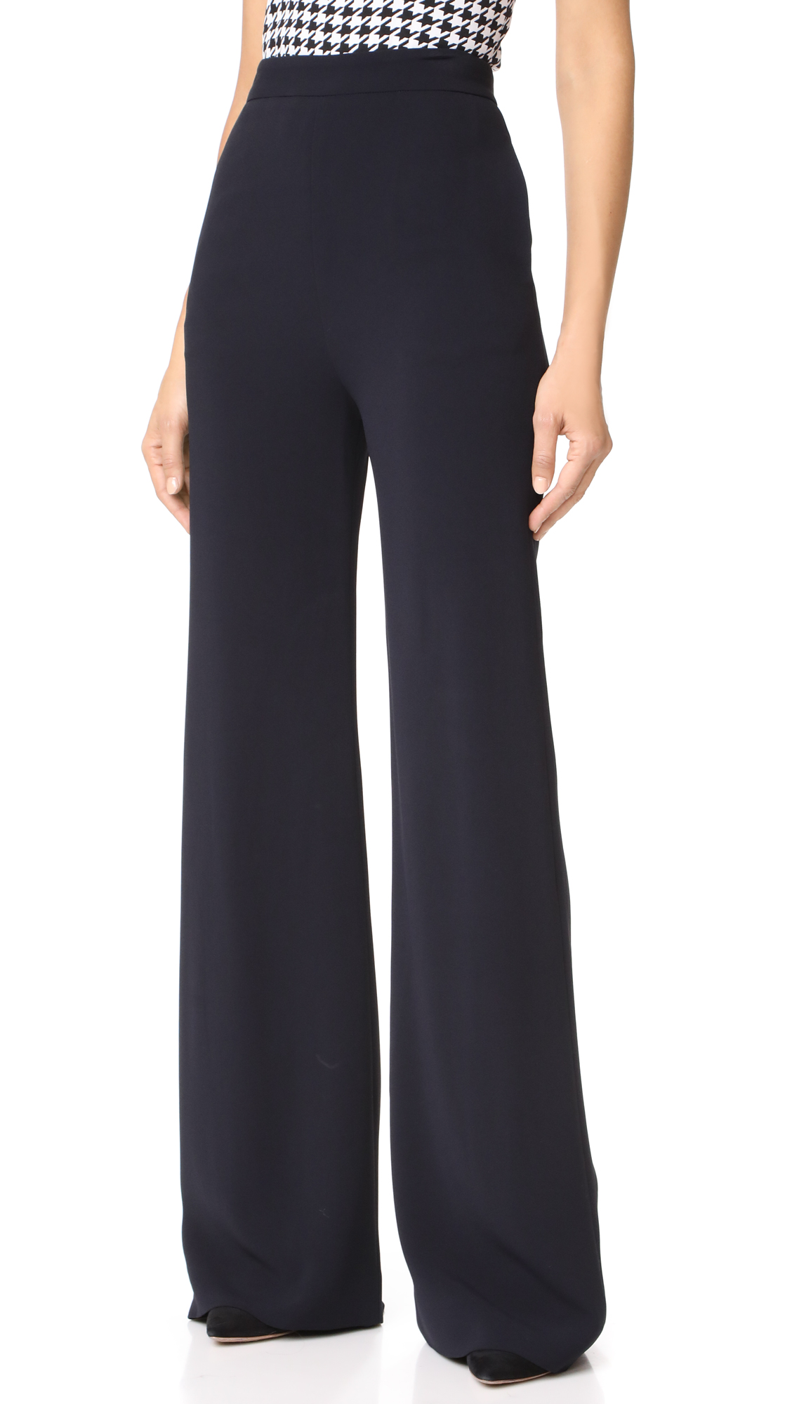 Brandon Maxwell Wide Leg Trousers - Navy