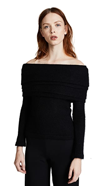 Brandon Maxwell Off Shoulder Layered Sweater In Black