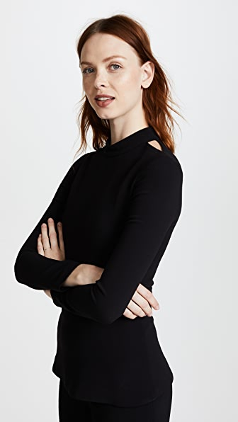 Brandon Maxwell Long Sleeve Top with Cutouts