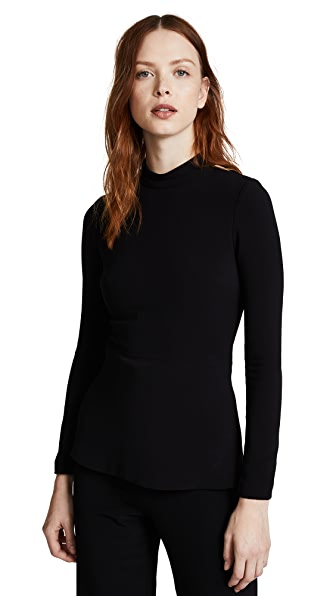Brandon Maxwell Long Sleeve Top with Cutouts In Black