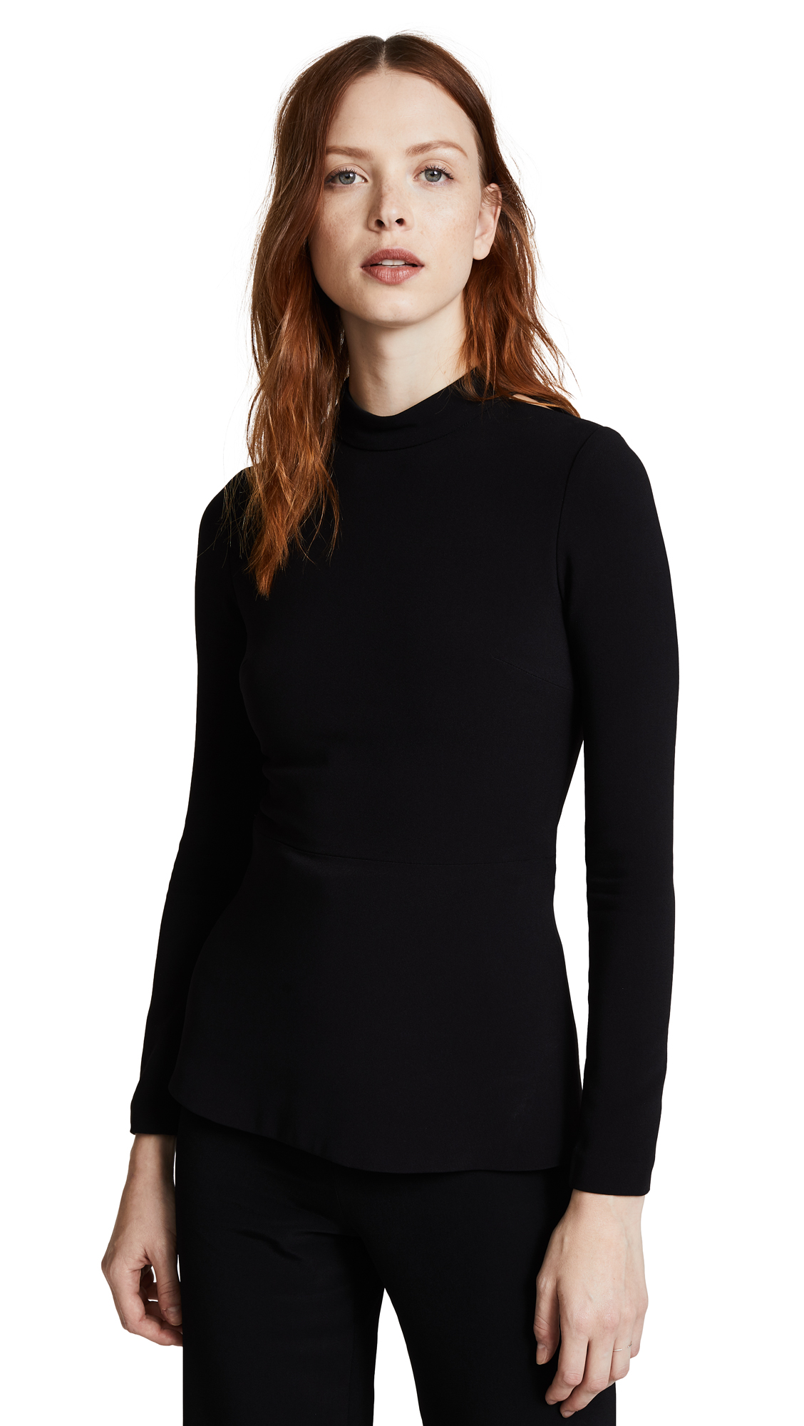 Brandon Maxwell Long Sleeve Top with Cutouts - Black