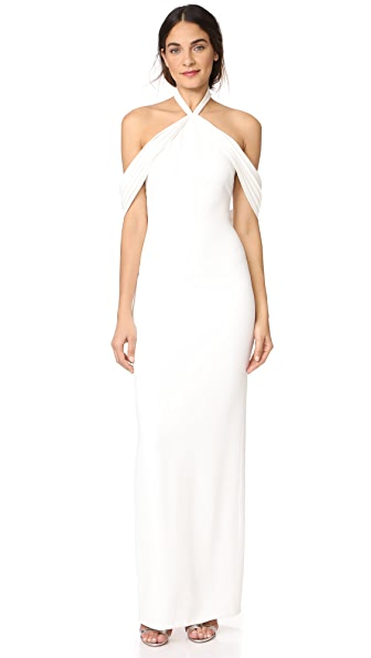 Brandon Maxwell Pleated Draped Shoulder Gown In Ivory