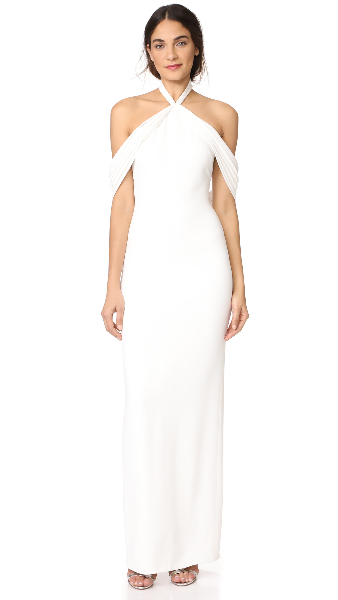 Brandon Maxwell Pleated Draped Shoulder Gown - Ivory