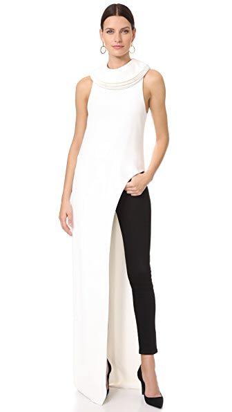 Brandon Maxwell Top with Asymmetrical Hem - Ivory