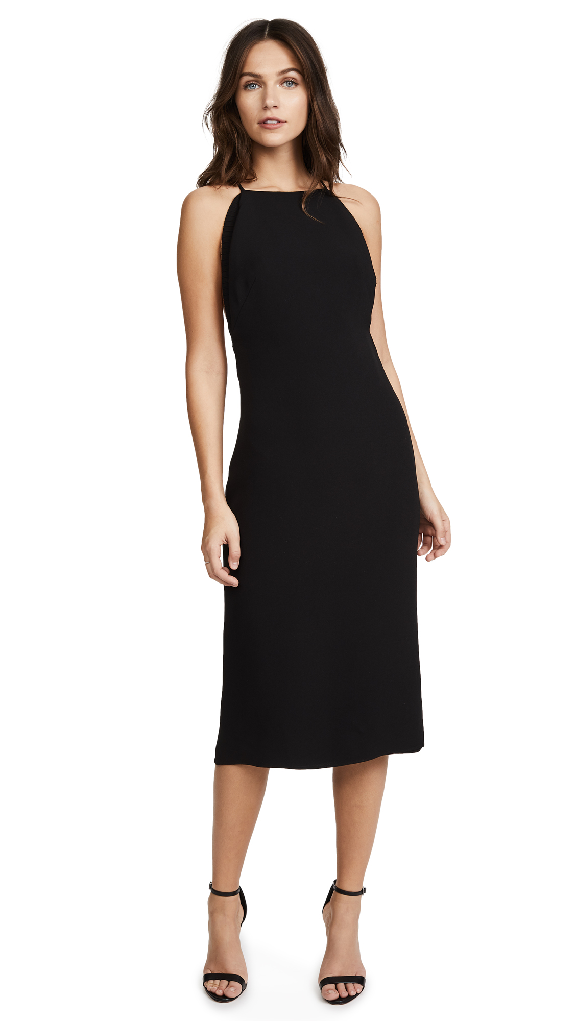 Brandon Maxwell Backless Dress with Ribbed Trim - Black
