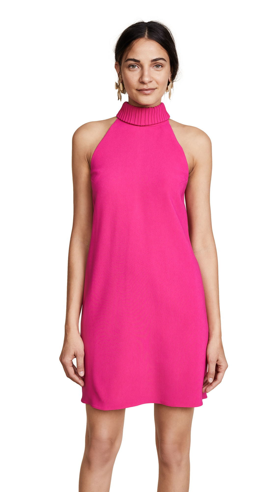 Brandon Maxwell Shift Dress with Bow Back - Fuchsia