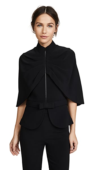 Brandon Maxwell Cape Jacket with Bow Belt In Black