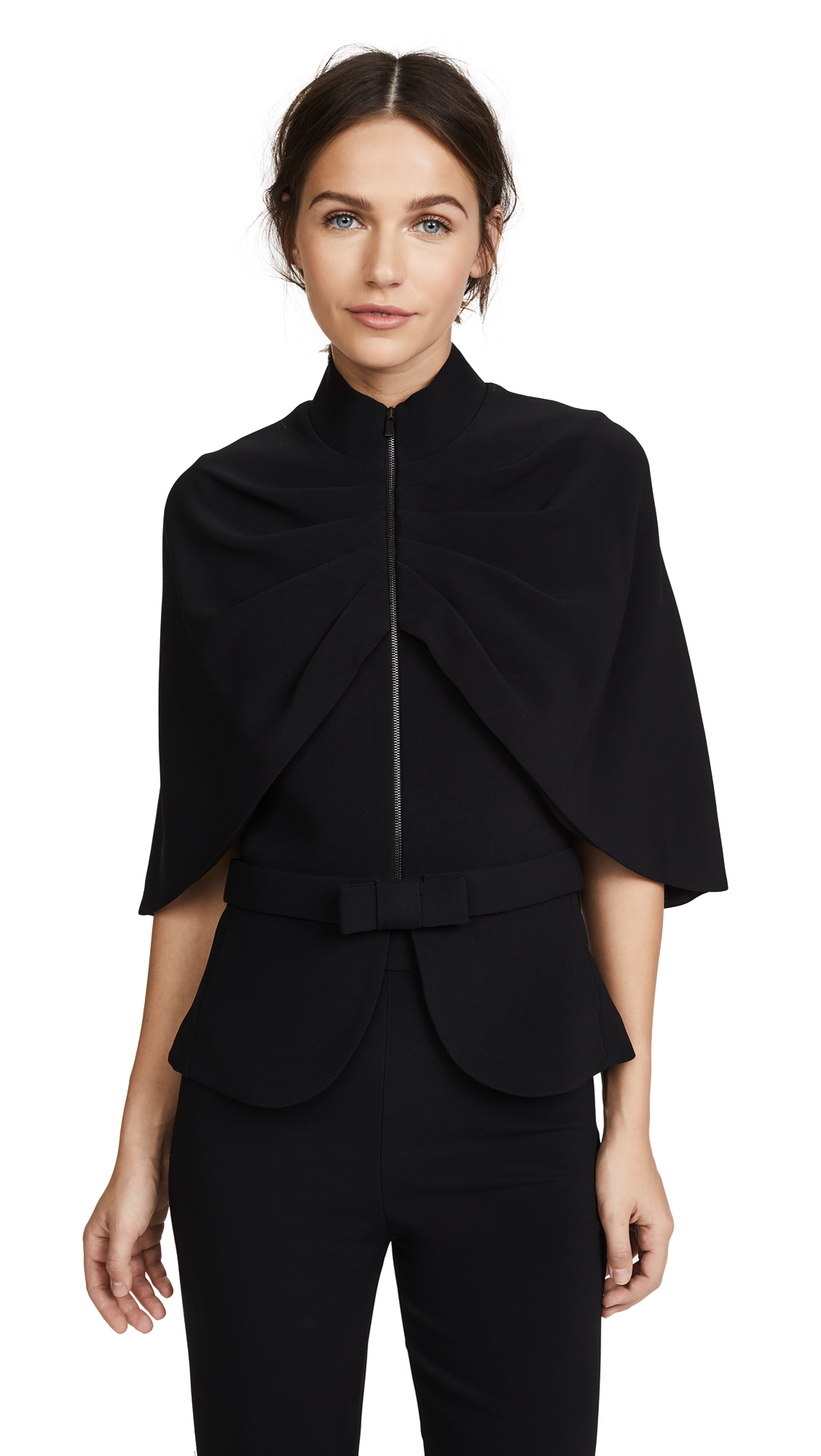 Brandon Maxwell Cape Jacket with Bow Belt - Black