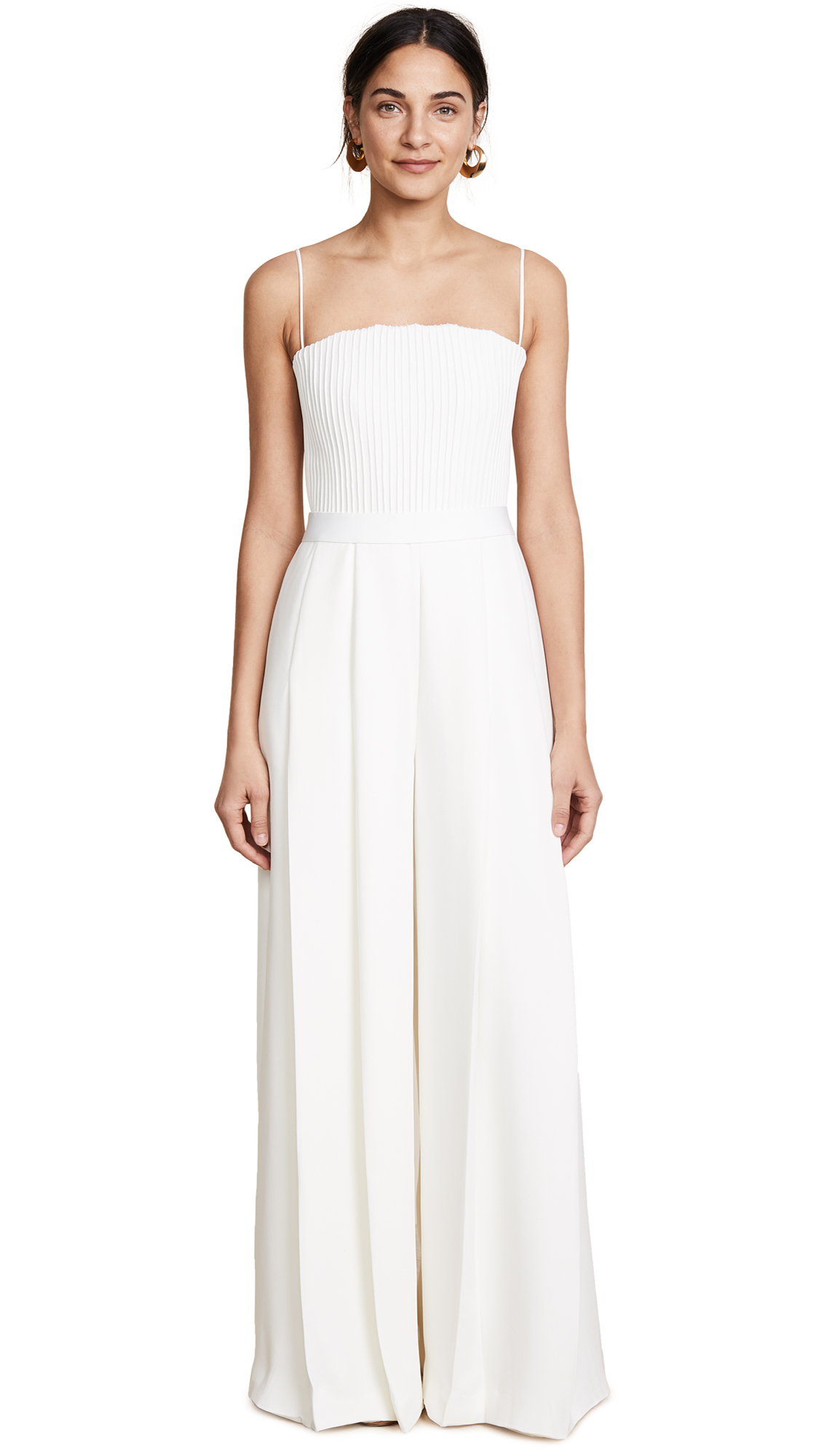 Brandon Maxwell Strapless Ribbed Bodice Jumpsuit - Ivory