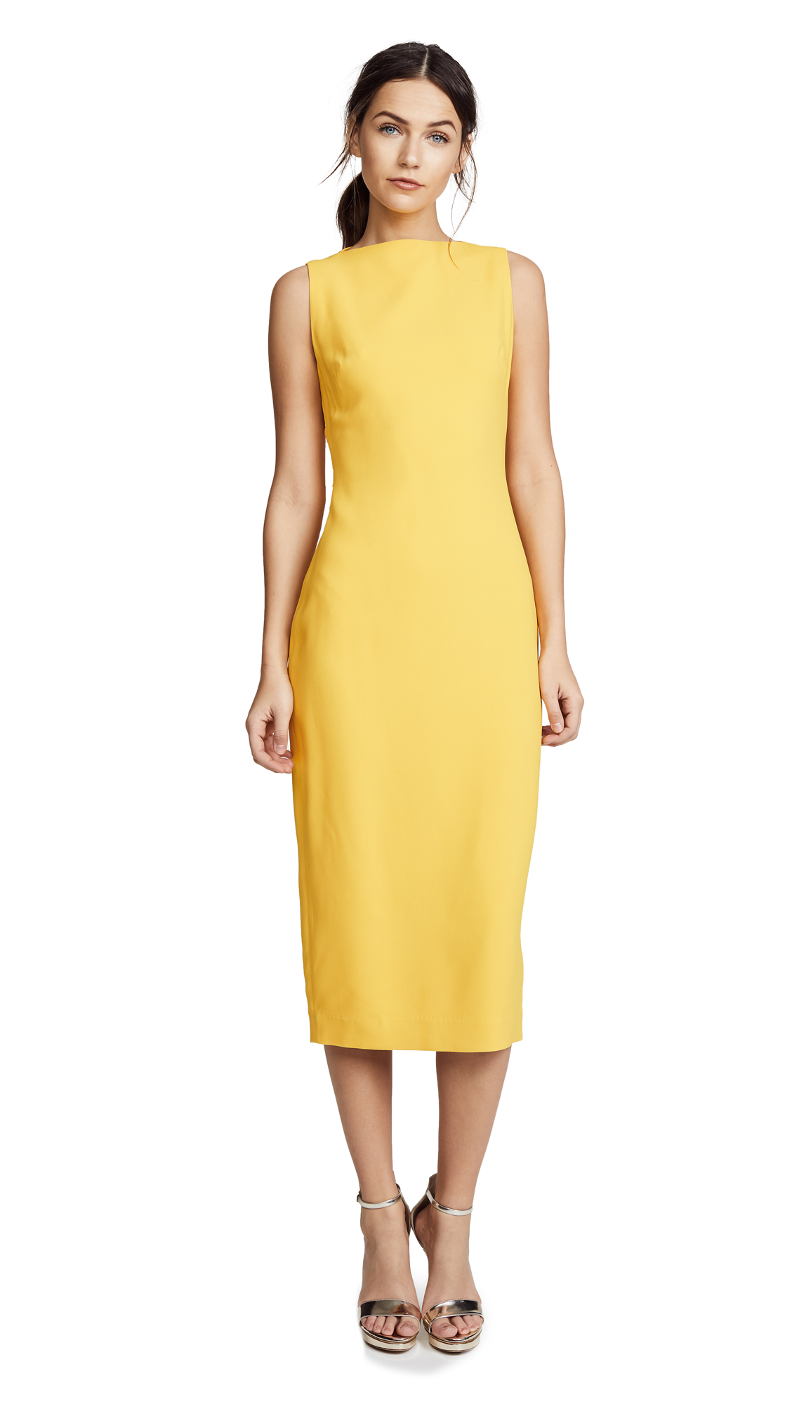Brandon Maxwell Double Faced Crepe Midi Sheath Dress - Yellow
