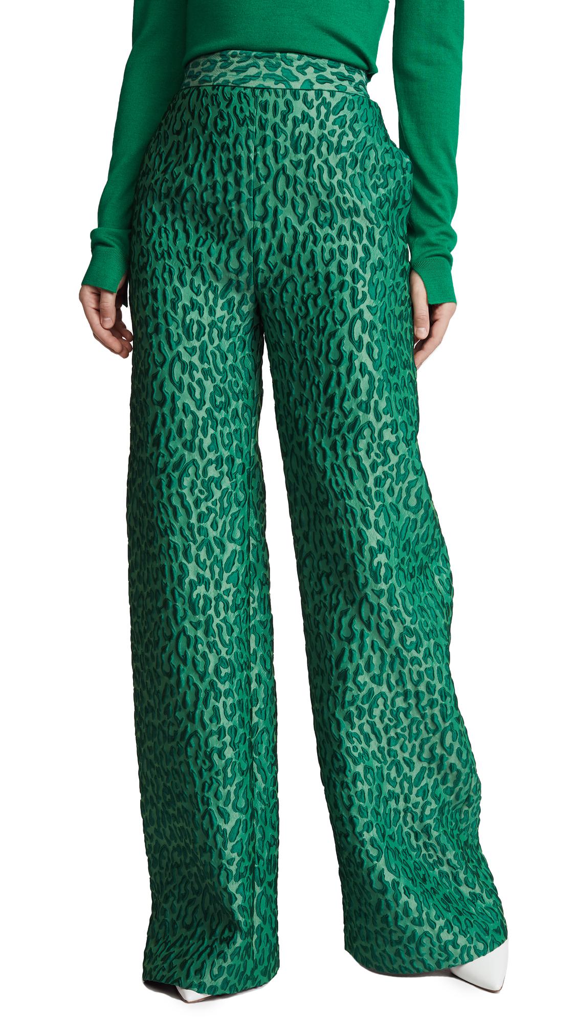Brandon Maxwell Leopard Jacquard Wide Leg Pants - Green