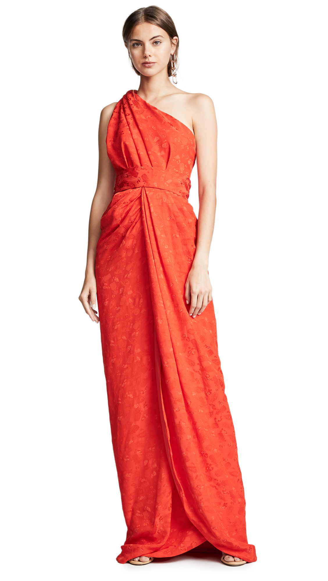 BRANDON MAXWELL Jacquard One Shoulder Twist Front Gown in Poppy