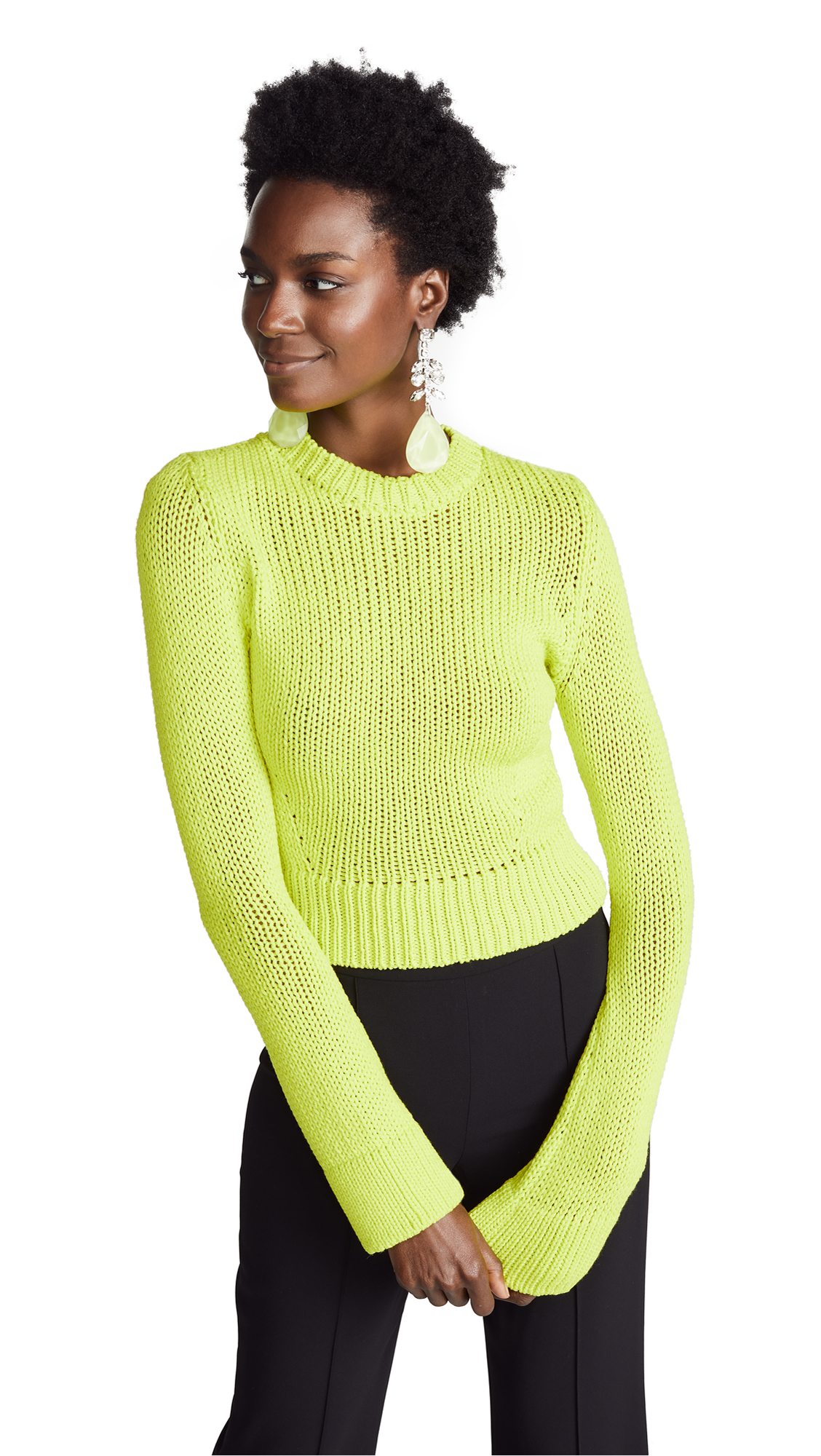 BRANDON MAXWELL Long Sleeve Pullover Sweater in Lime