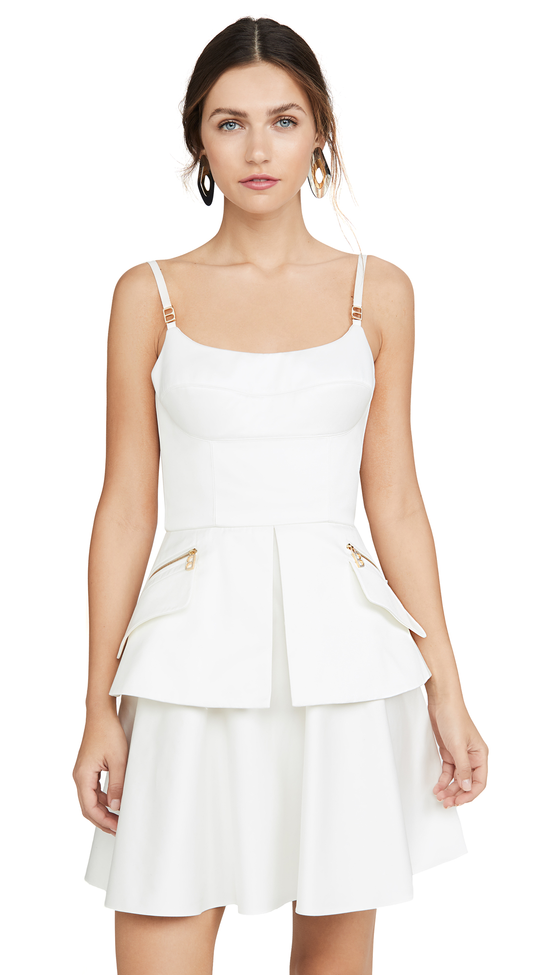 Brandon Maxwell Bustier Mini Dress with Peplum - White