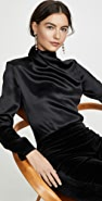 Brandon Maxwell Draped Neck Satin Blouse W Sleeves