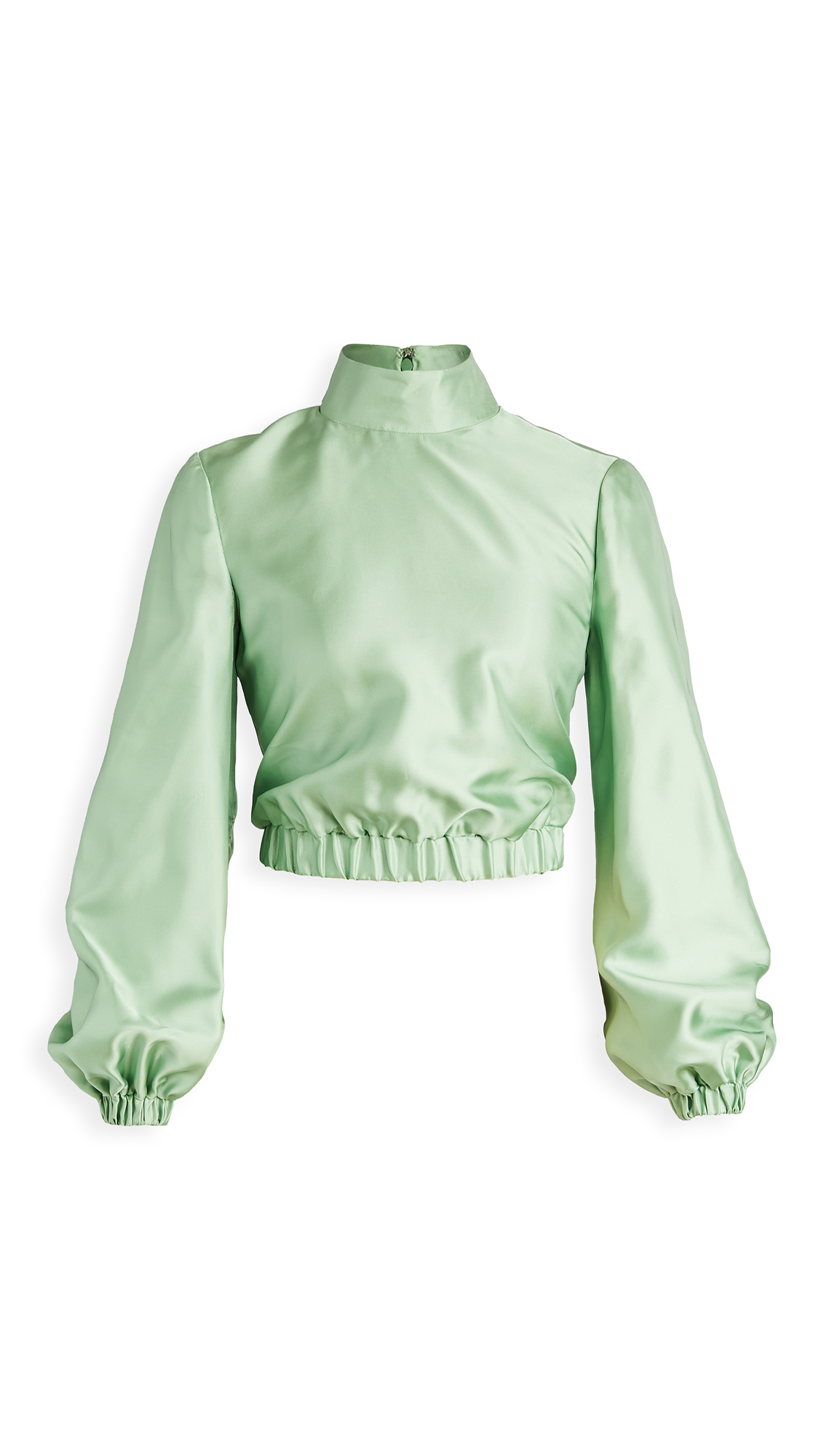 Brandon Maxwell Liquid Satin Top Cropped Gathered Satin Blouse – 30% Off Sale