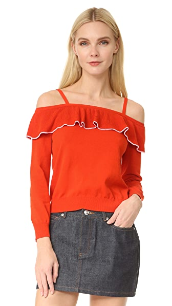 Boutique Moschino Off Shoulder Sweater In Pink/Red
