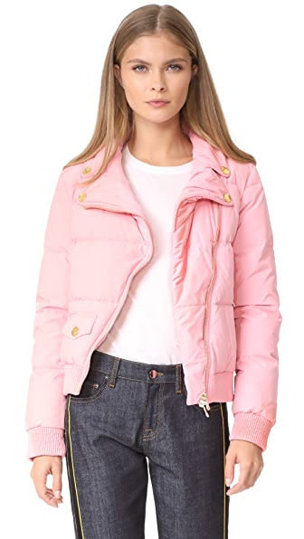Boutique Moschino Cropped Moto Puffer Jacket In Pink