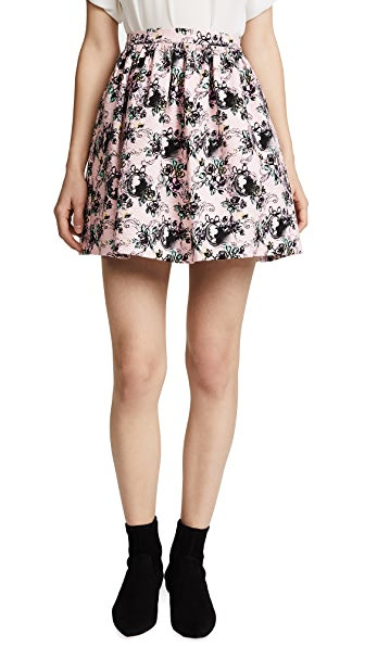 Boutique Moschino Patterned Skirt In Pink Multi