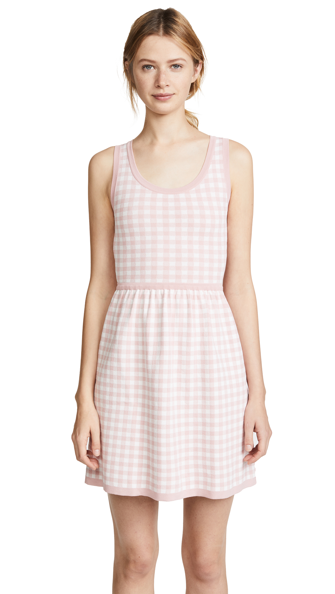 Boutique Moschino Gingham Sleeveless Dress - Pink/White