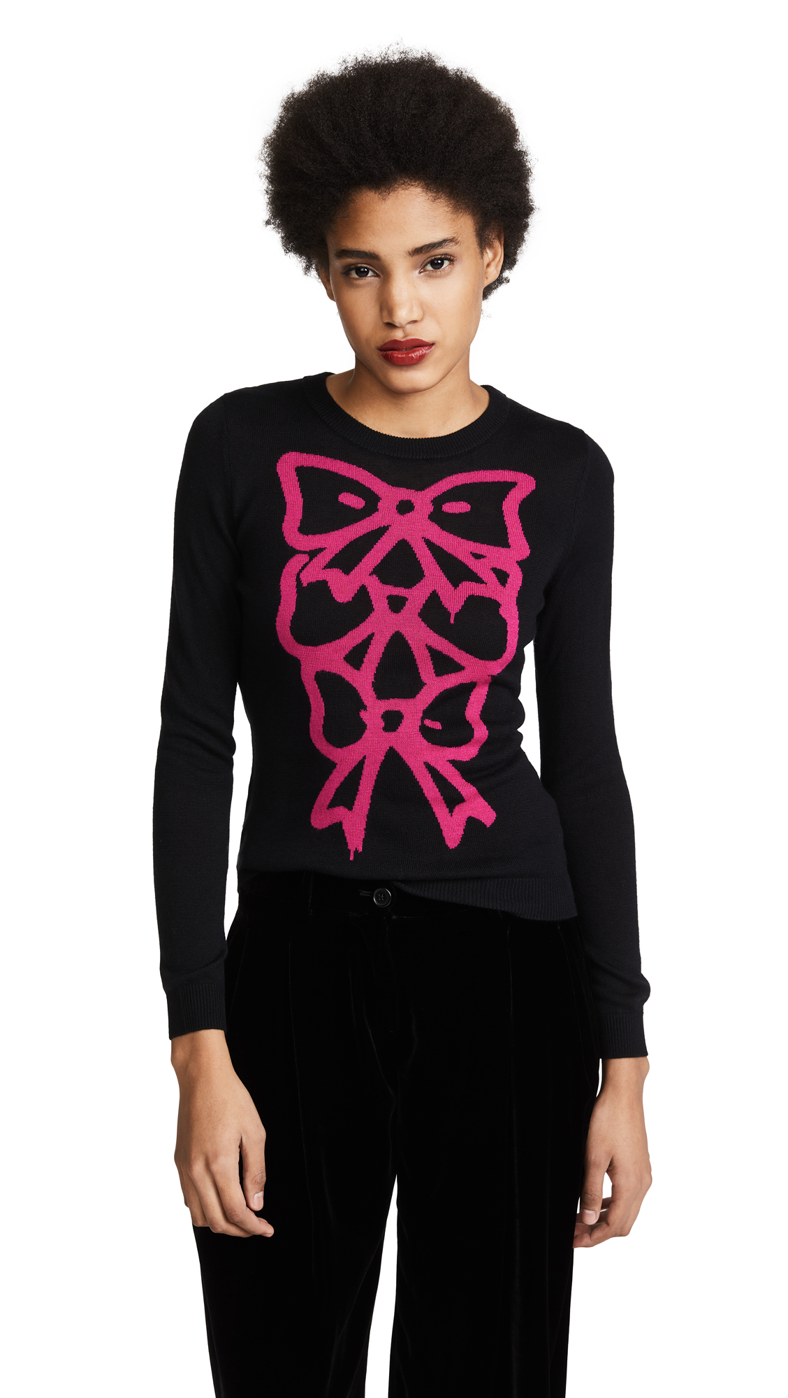 Boutique Moschino Bow Print Sweater - Black
