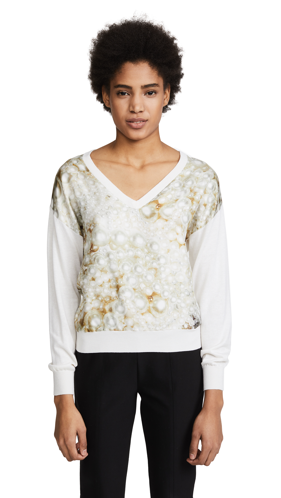 Boutique Moschino Silk Sweater - Silver