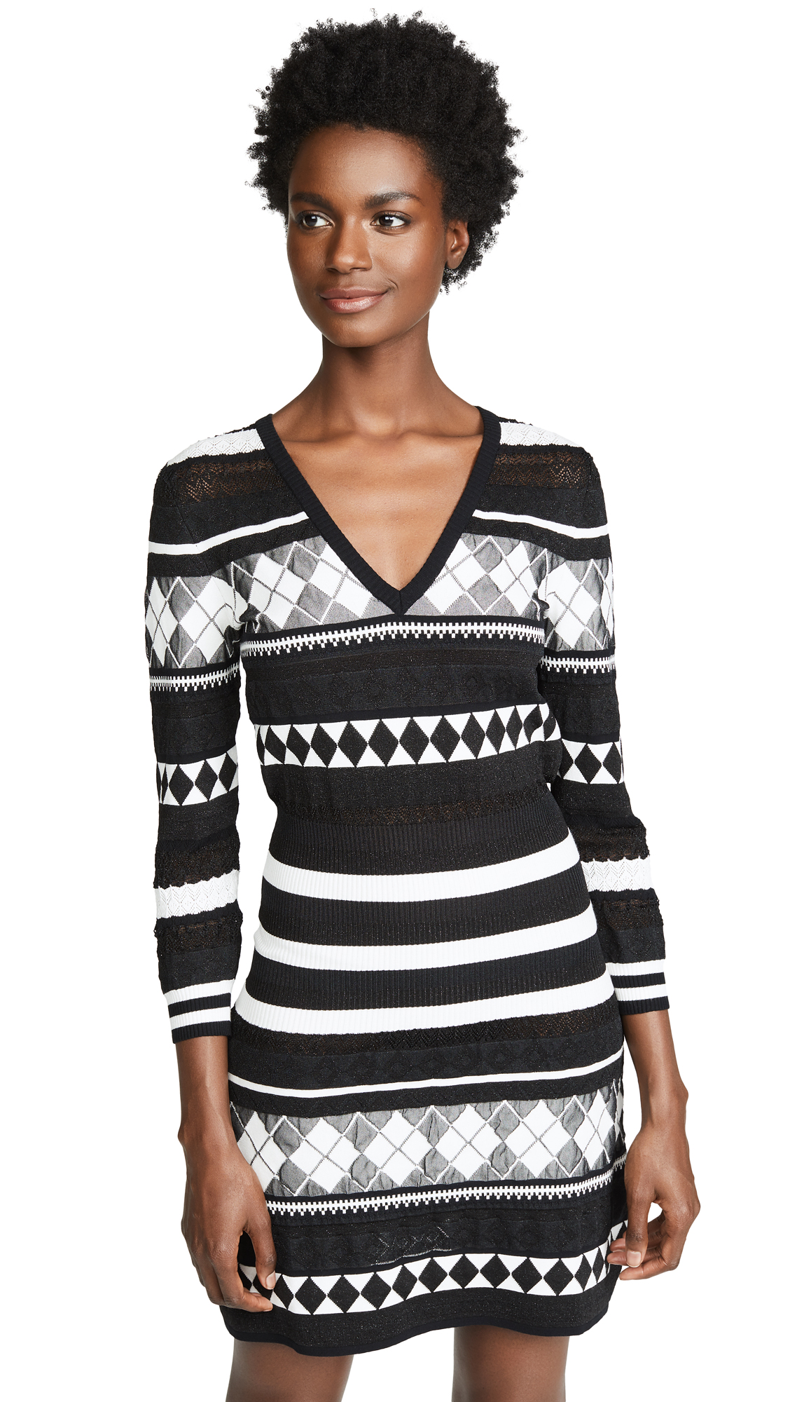 BOUTIQUE MOSCHINO Patterned Stripe Dress in Black