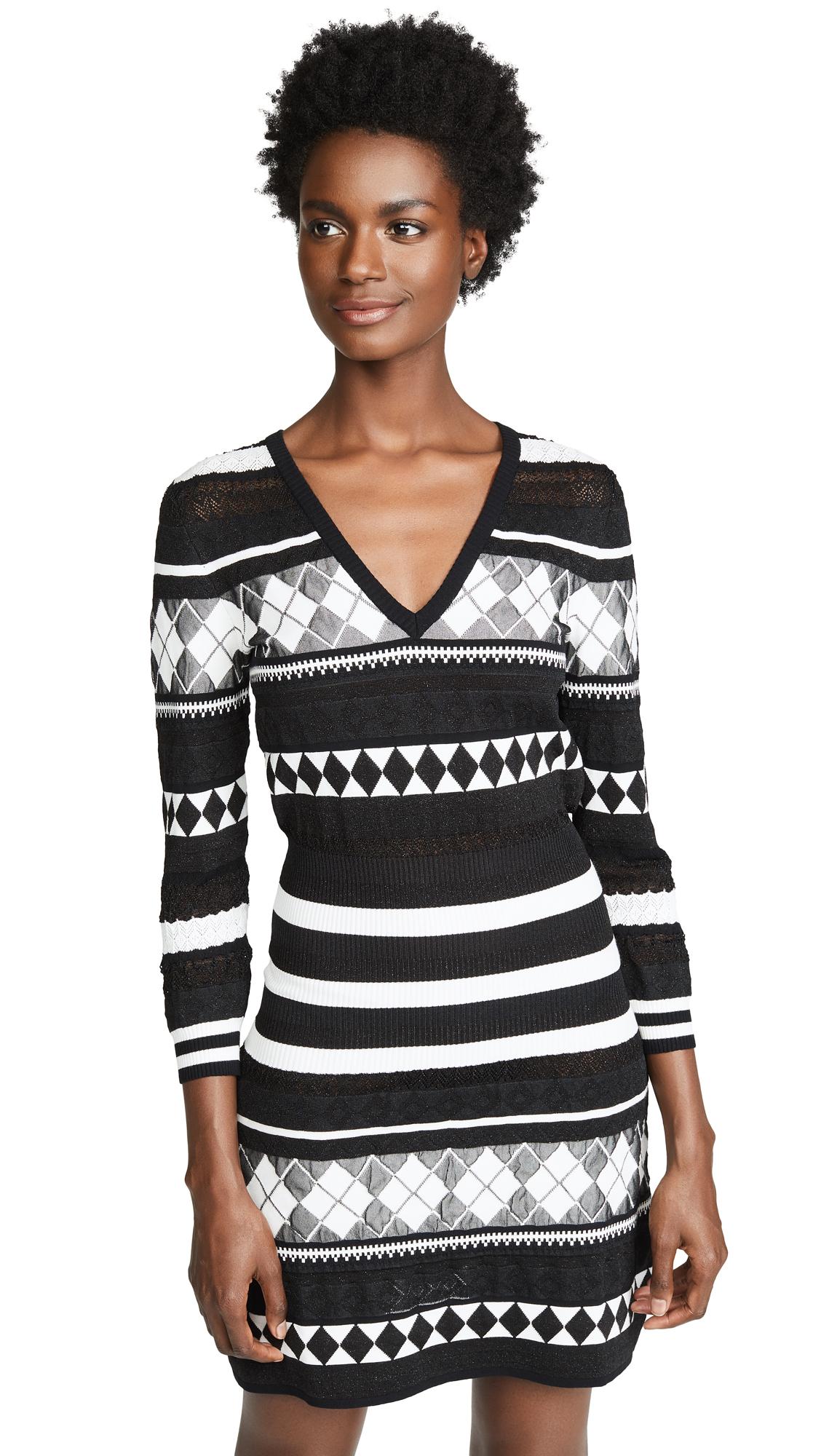Patterned Stripe Dress in Black