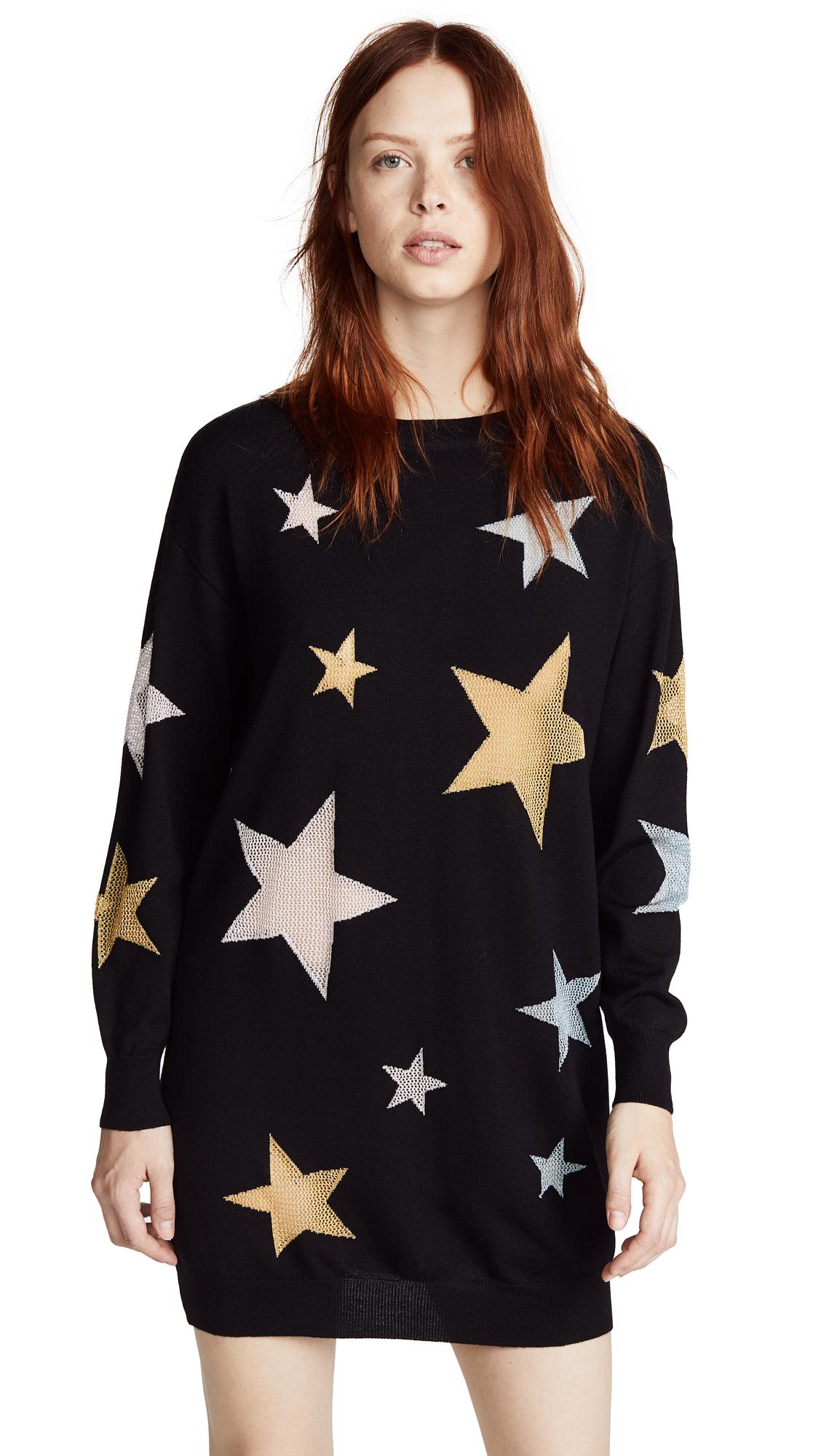 Boutique Moschino Star Mini Dress In Black Multi