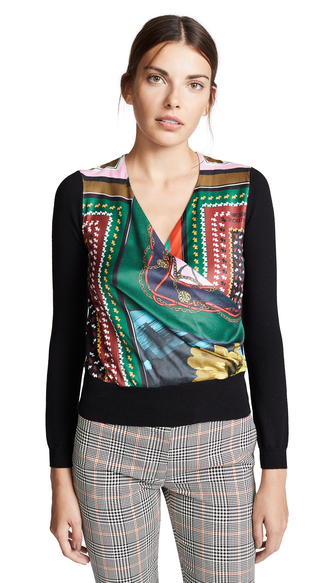 Boutique Moschino Scarf Print V Neck Top In Multi