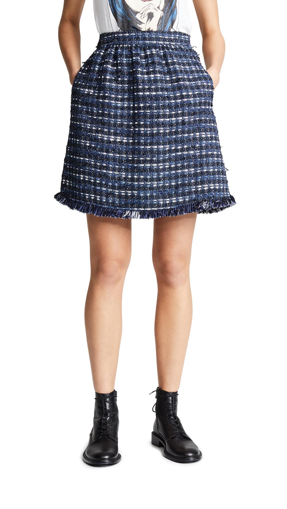 Boutique Moschino Tweed Skirt - Blue Tweed