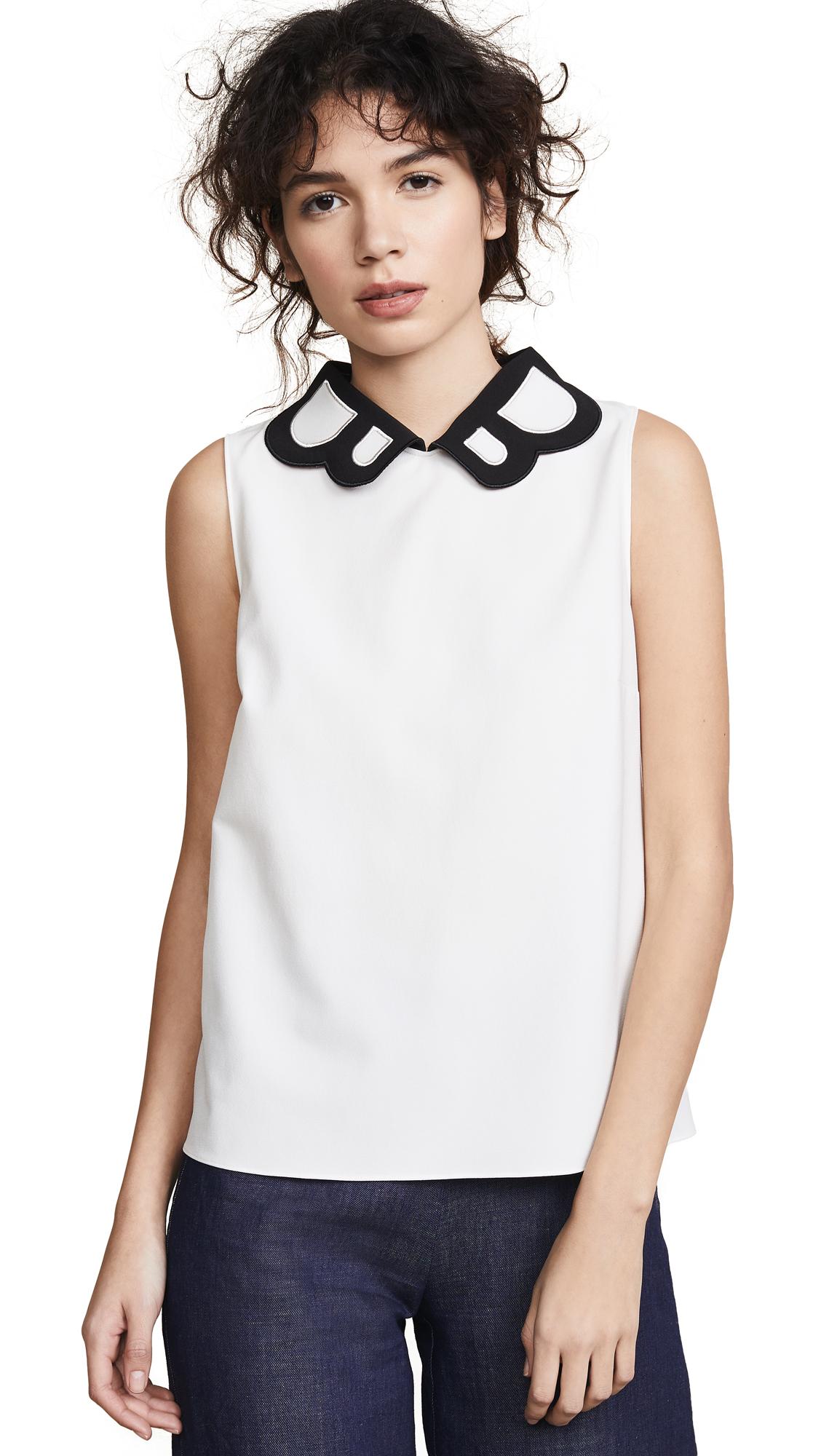 Boutique Moschino Collared Blouse - White/Black