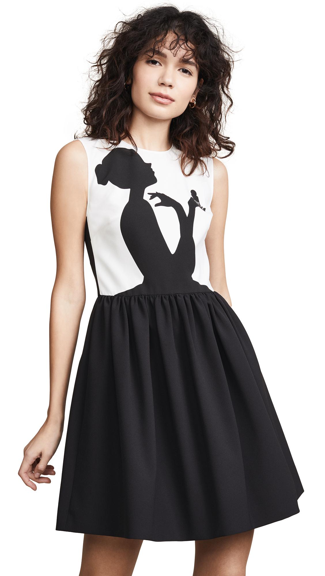 Boutique Moschino Silhouette Mini Dress - Black/White
