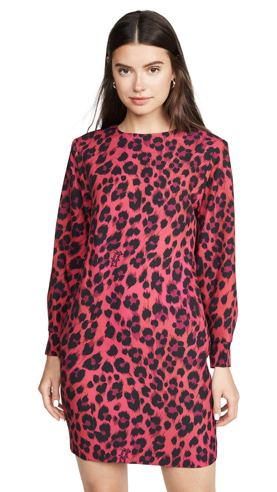 Boutique Moschino Long Sleeve Pink Leopard Dress - Fantasy Print Fuchsia
