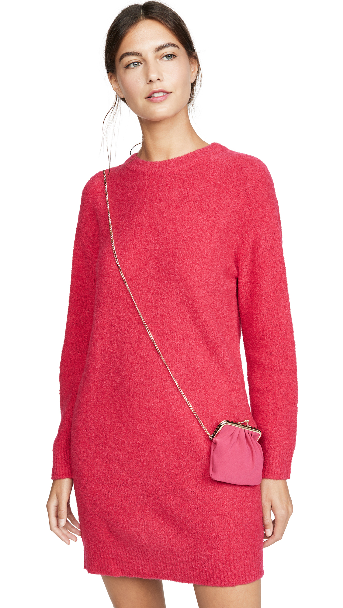 Boutique Moschino Long Sleeve Sweater Dress - Fuchsia